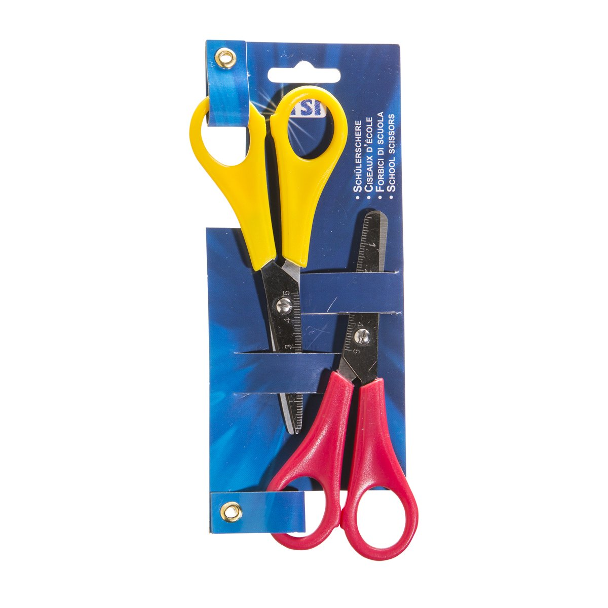 TSI 41522Student Scissors in Dual Pack with Sharpener and Rounded Tips, Assorted Colours, 13cm