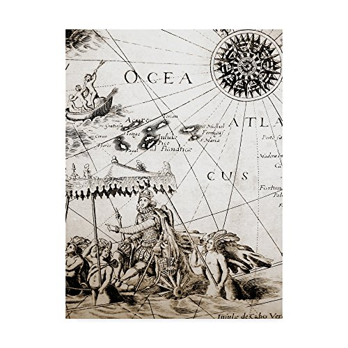 Trademark Fine Art Map Compass Rose Closeup by Vintage Lavoie, 18x24-Inch