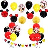 ミッキーマウスパーティー 誕生日 ベビーシャワー 男の子 ディズニー ハニカムボール 紙吹雪入れ ミッキーガーランド レッド イエロー ブラック 27個