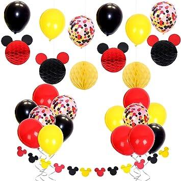 61f4a9d3725fc JOYMEMO Décorations de Fête Mickey Mouse avec Ballons de Confettis Rouge  Jaune Noir, Guirlande d'oreilles de Mickey, Boules en Nid d'abeille en ...