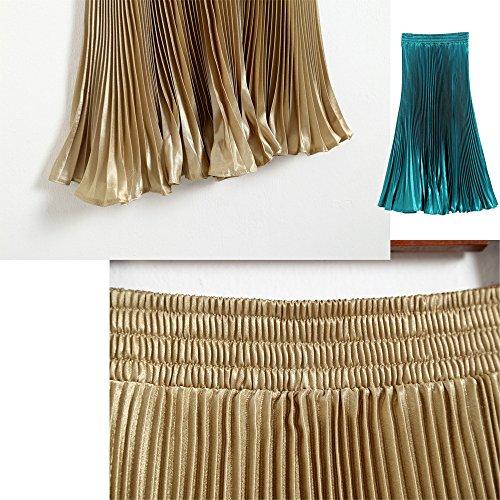 Robes Longue Soie Bleu Taille Paon BOZEVON en de Jupe Mousseline Femmes Pliss Elastique S5qwHg