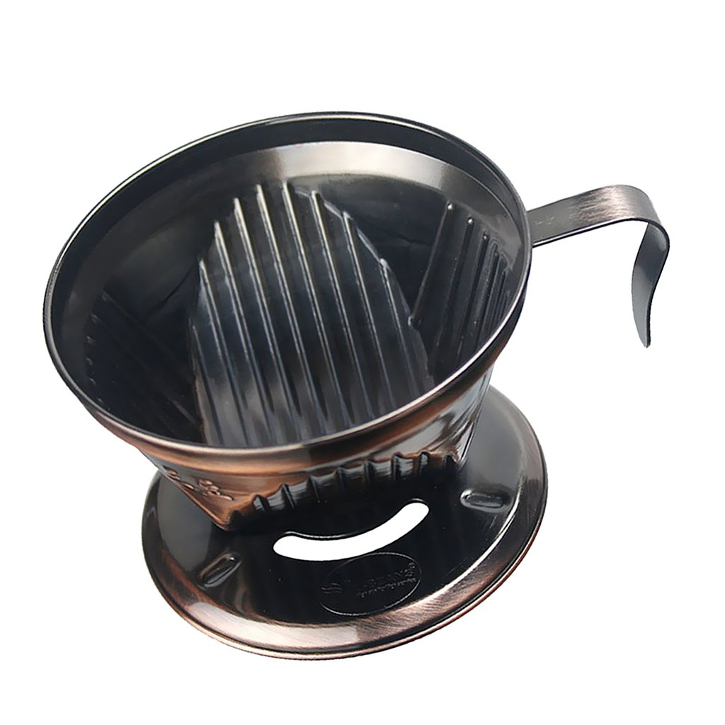 Dovewill Reusable Silver Coffee Filter Cup Cone Stainless Steel Dripper Maker for Coffee Making - Bronze, as described