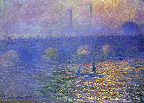 The Museum Outlet - Waterloo Bridge by Monet, Stretched Canvas Gallery Wrapped. 11.7x16.5