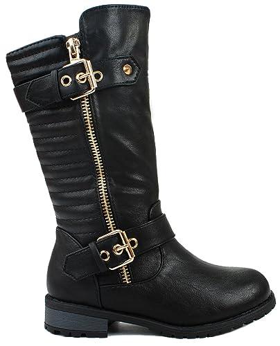 2423fd9c1e2 Kids Girls Mango20 Black Dual Buckle Golden Zipper Quilted Motorcycle  Riding Knee High Boots-9