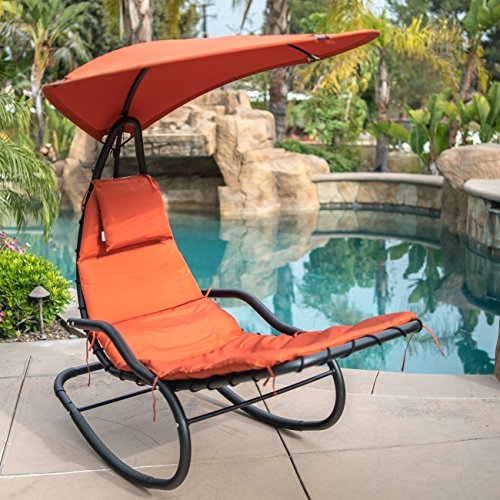 - Belleze Hanging Rocking Sunshade Canopy Chair Chaise Umbrella Lounge Arc Patio Bungee Padded Cushions Outdoor. Orange