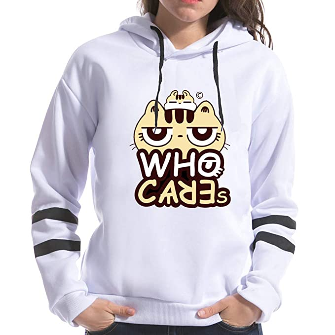feple Donna Cat Stampe Hoodies Felpa con Cat Ear Popolare