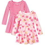 The Children's Place Baby Girls' Long Sleeve Pleated Dress, Pack of Two