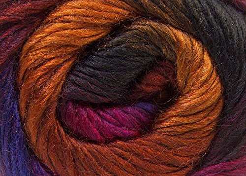 (1) 100 Gram Madonna Purple, Fuchsia, Dark Gold, Auburn, Charcoal Self-Striping Yarn, Wool, Mohair, Acrylic DK Weight