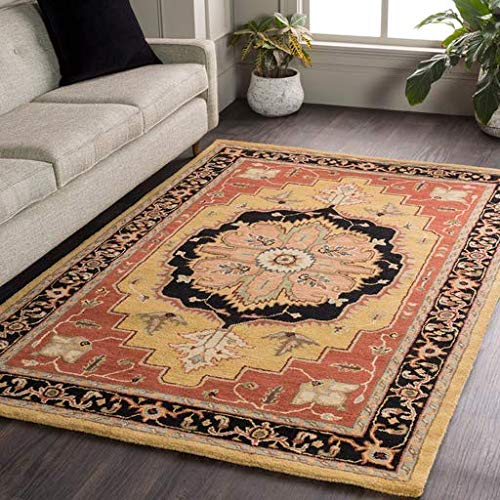 Bear Traditional Medallion Persian 4' x 6' Rectangle Traditional 100% Wool Wheat/Camel/Black/Dark Brown/Olive/Beige/Medium Gray/Charcoal Area Rug ()
