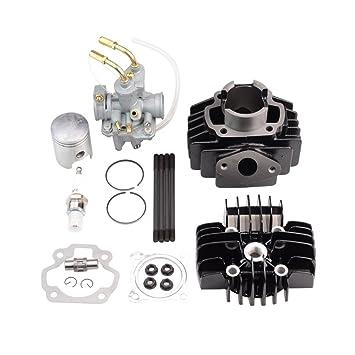 GOOFIT Carburador 20 Dellorto Kit Cilindro Minimoto y Piston con Bujias de Encendido Chino Reemplazo para