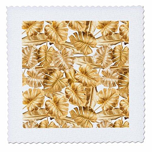 3dRose Uta Naumann Faux Glitter Pattern - Image of Shiny Aloha Gold Foliage Monstera Tropical Hawaii Pattern - 10x10 inch quilt square (Gold Hawaiian Quilt)