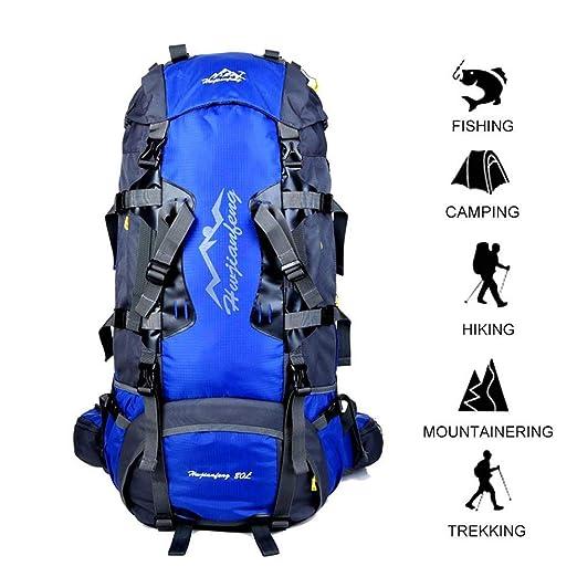 Gohyo Mochila de Viaje 80L Senderismo Ligera Impermeable para Marcha Trekking Camping Montaña Escalada Celeste: Amazon.es: Deportes y aire libre