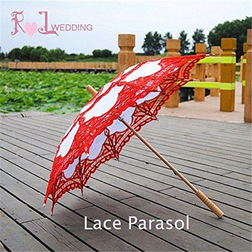 Saitec® New Fashion 30'' Fashion Red Embroidered Lace Parasol Sun Umbrella Wedding Bridal Bride Birthday Party Decoration