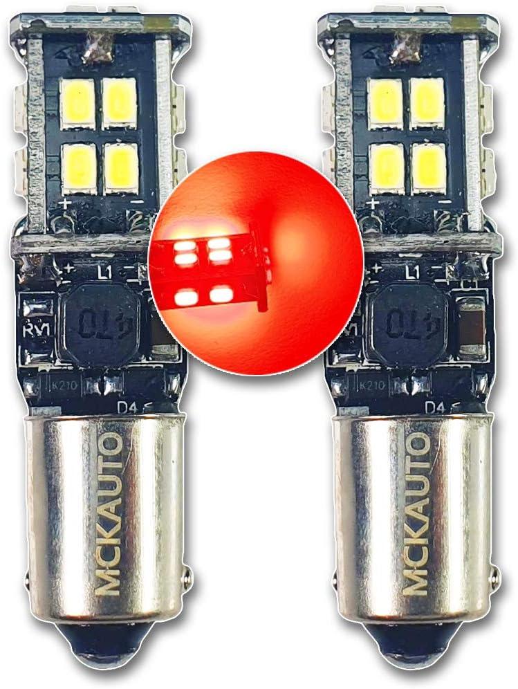 MCK Auto - Reemplazo para H21W LED CanBus Conjunto de bombillas rojas muy claras y sin errores compatibles con X6