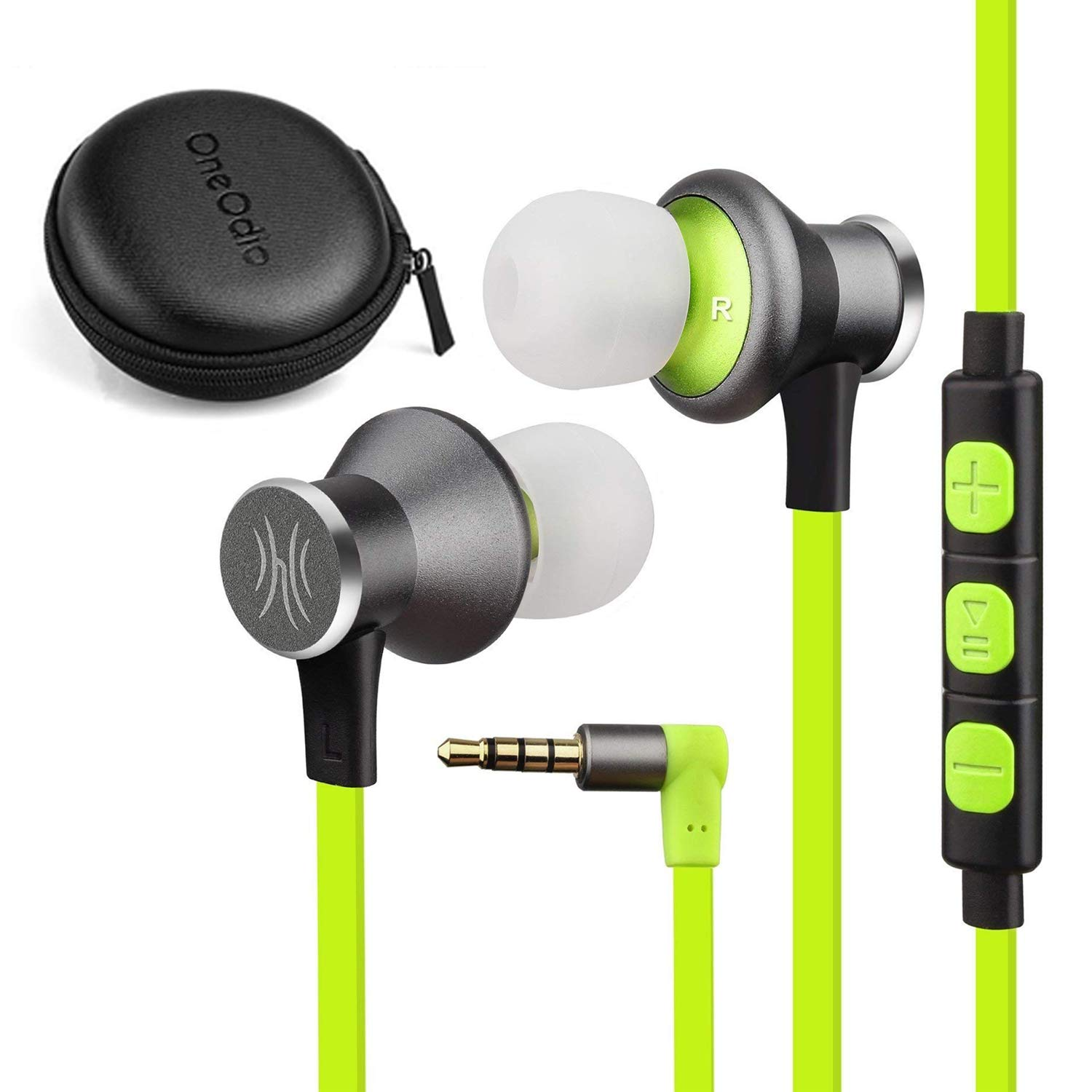 OneOdio Earphone With Wireless Stereo Earbuds with Mic 360 ° Magnetic Attraction CVC 6.0 for Gyms and for iPhone Android Smartphones (green)