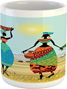 Ambesonne African Mug, Design Graphic of Clothed Girls on Nature Scene Print, Ceramic Coffee Mug Cup for Water Tea Drinks, 11 oz, Burgundy Green