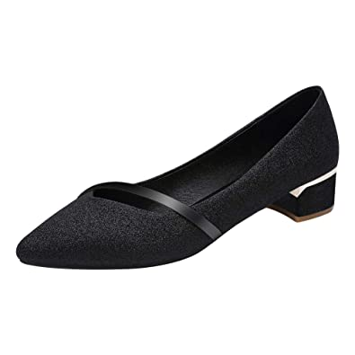 Black suedette court shoes with sparkly low heel