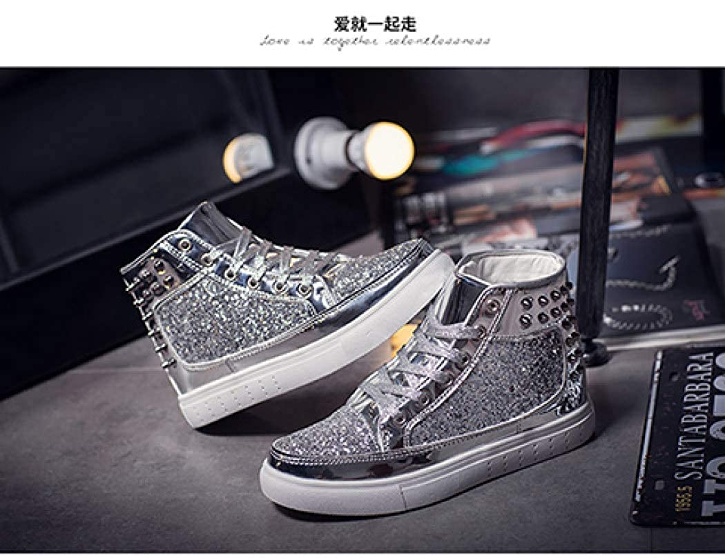 TANGOGO Womens High Top Sneakers Shiny Sequins Rivet Round Toe Lace-up Casual Shoes Outdoor Skateboard Flats