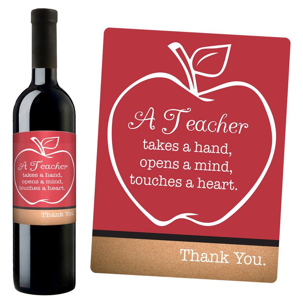 Amazon.com: Blue Orchards Teacher Appreciation Wine Bottle Label ...