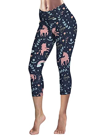 d4cd844e6a Image Unavailable. Image not available for. Color: Capri Tights Running Workout  Leggings Cropped Pants Unicorn with Rainbow and Clouds Floral Art ...