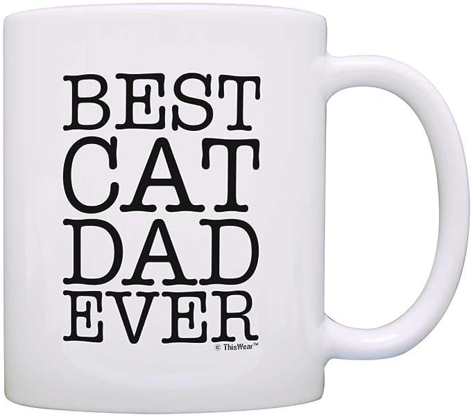 VINTAGE BEST CAT DAD EVER Mug Coffee Funny Ceramic Coffee Mug Gift For Men Women