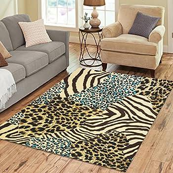 InterestPrint Leopard Zebra Animal Tiger Print Area Rug Cover Carpet 7 X 5  Feet, Wild