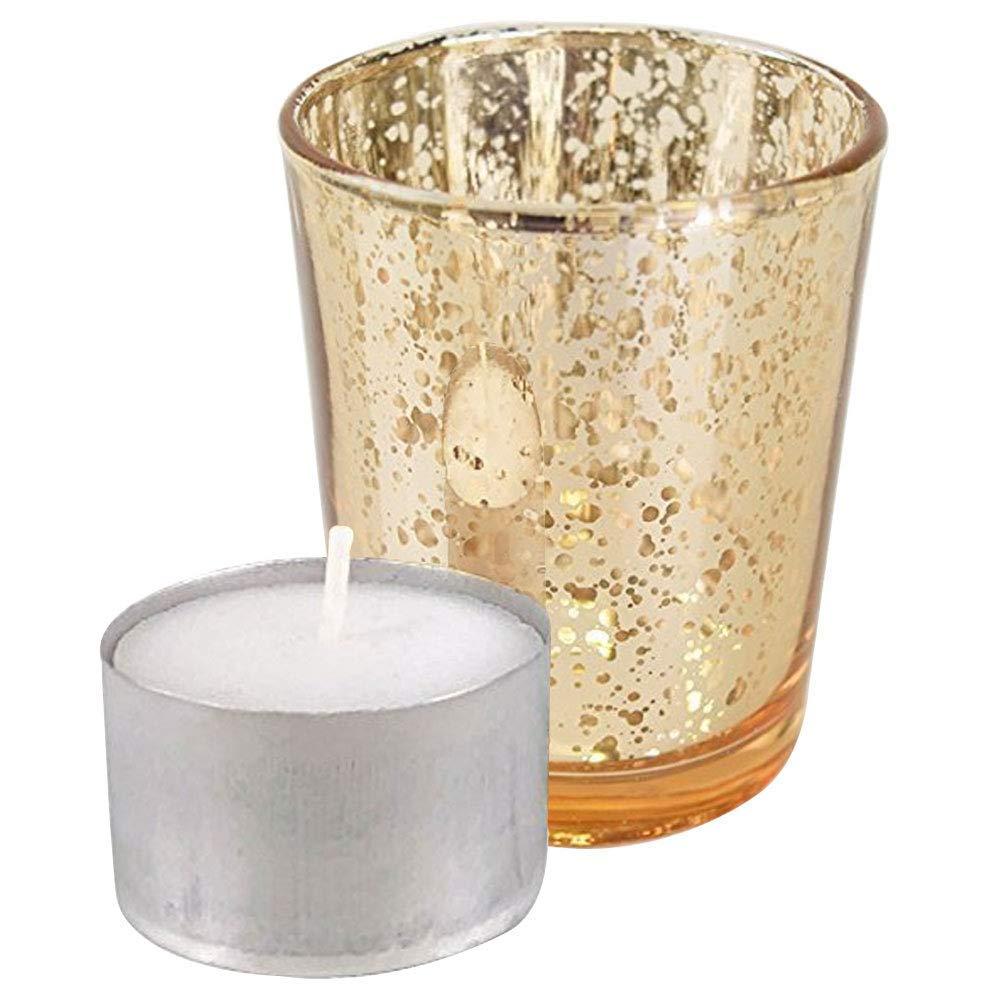 Just Artifacts Speckled Mercury GlassVotiveCandle Holder 2.75'' H(25pcs,Gold Votives) w/ 25pcs Wax Tea Light Candles Included