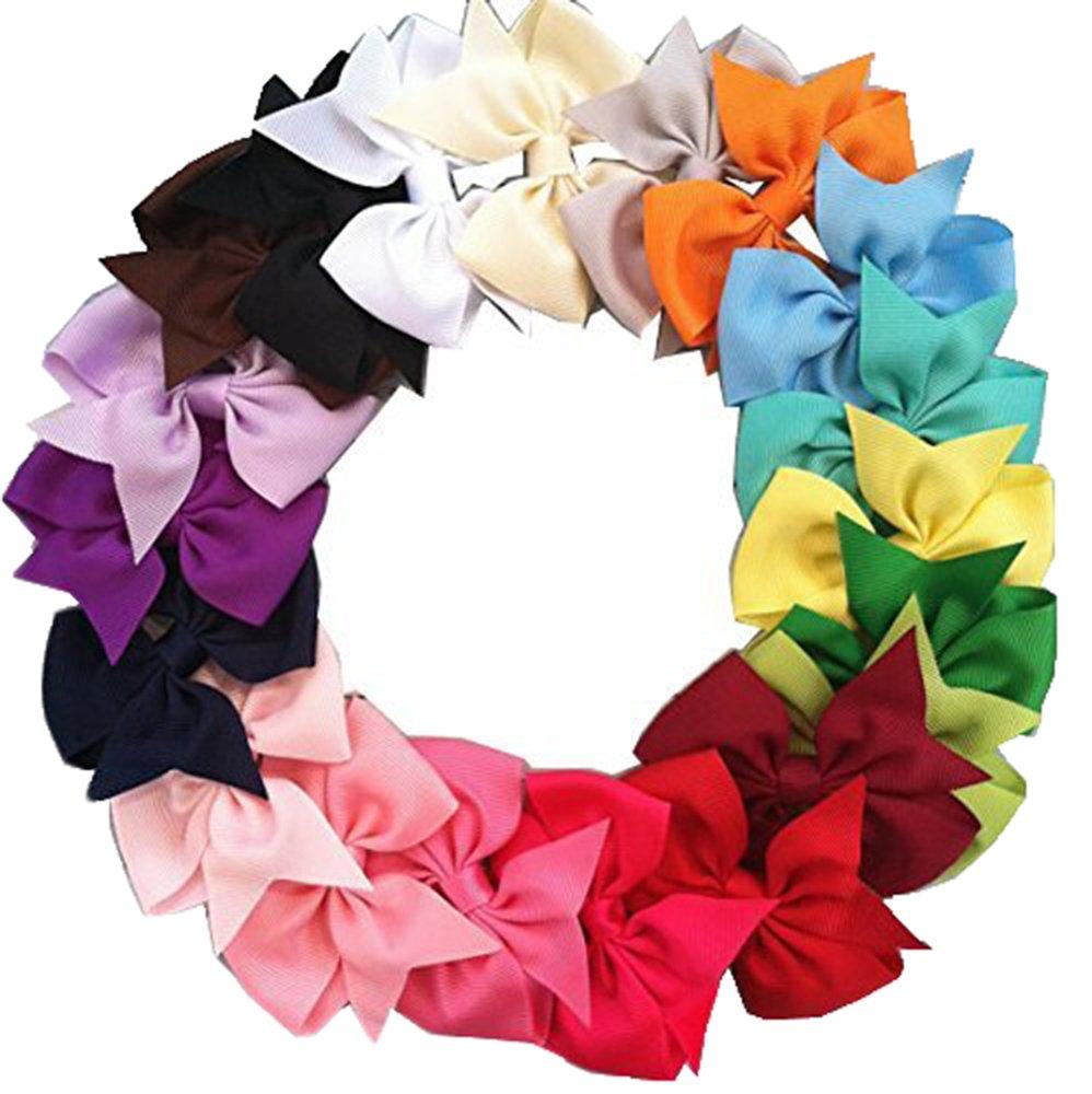 20pcs Big Hair Bows Boutique Girls Alligator Clip Grosgrain Ribbon Headband Mylot
