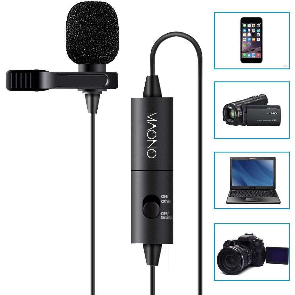 Lavalier Microphone, MAONO AU100 Hands Free Clip-on Lapel Mic with Omnidirectional Condenser for Podcast, Recording, DSLR,Camera,iPhone,Android,Samsung,Sony,PC,Laptop (236 in)