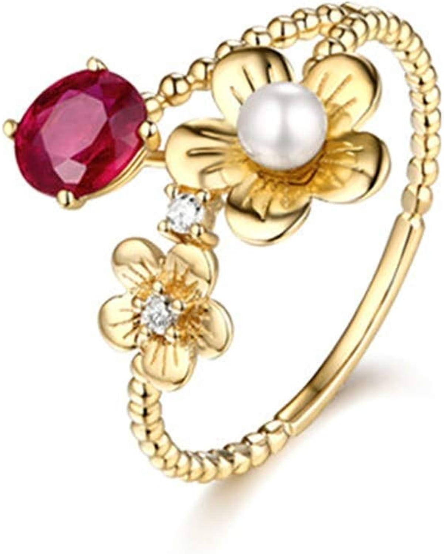AnazoZ 18K Oro Anillos de Mujer Oro Anillo de Mujer Flor con Perla Oval Rubí Rojo 0.6ct