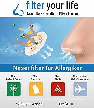 Filter your Life Filtro de nariz contra la alergia, el resfriado, pelusas, la alergia a los ...