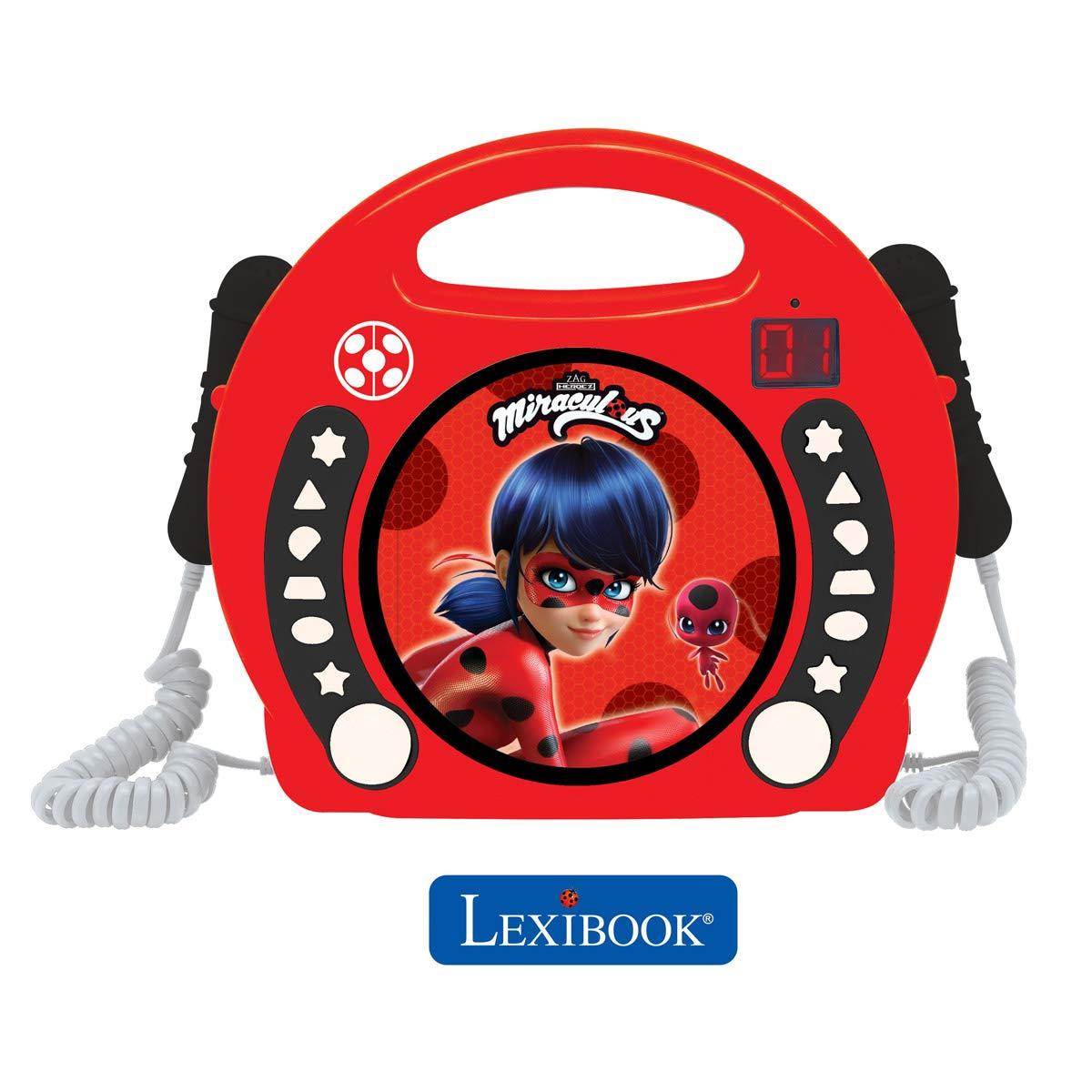 LEXiBOOK Miraculous Ladybug Radio CD, Programming Function, Headphones Jack, for Kids, with Power Supply or Batteries, Red/Black, RCDK100MI by LEXiBOOK (Image #2)
