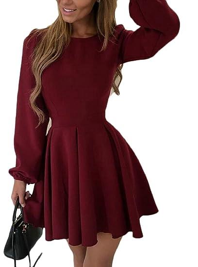 Yayu Womens Long Sleeve A-Line Short Swing Skater Dress at Amazon Women s  Clothing store  2168abeba
