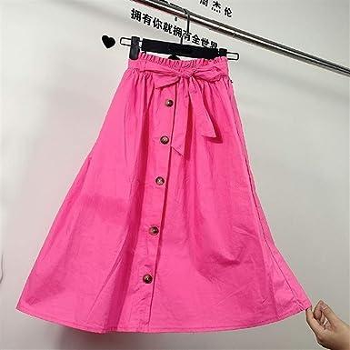 Haucalarm Falda plisada de cintura alta con un solo pecho Rojo ...