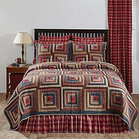 4pc Braxton Country Patchwork King Quilt Set Pillow Shams 5 Star BurlapToss Pillow