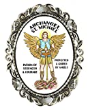 St Michael Archangel Patron of Strength & Courage Huge 2'' Antique Silver Pin Brooche