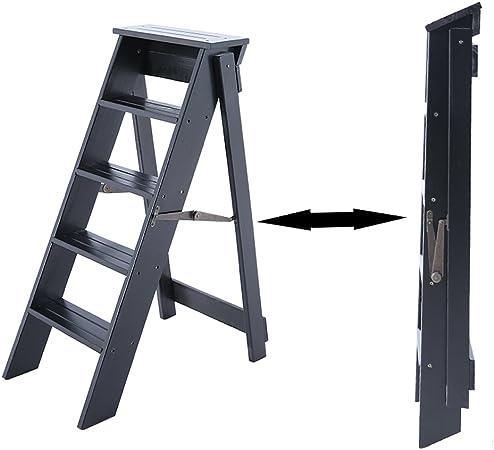 Katxay Escalera de 5 peldaños, Escalera Plegable Multifuncional para el hogar, Taburete de Bar de Madera Maciza, Estante de Escalera Engrosado de Interior, Estante de Flores (Color : Negro): Amazon.es: Hogar