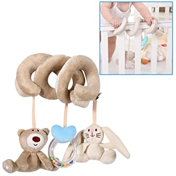 Spiral Wrap Around Hanging Plush Toy Rattle for Baby Kid Stroller Crib Car Seat