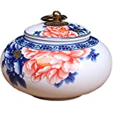 Small Chinese Blue and White Porcelain Tea Storage /Kitchen Storage with Lid for Home Decor