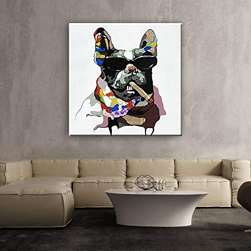BMALL French Bull Dog And His Cigar Oil Painting By Hand-Painted with Frame Wall Art 24 x 24 Inch 60cm x 60cm