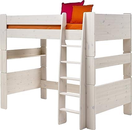 Cama Mezzanine de pino macizo encalado) blanco - Dim: 206 x 114 x ...