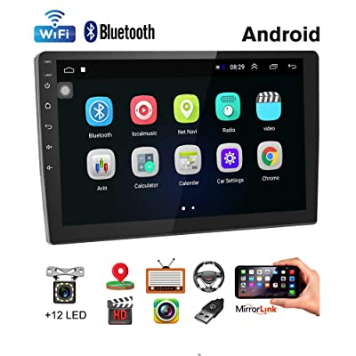 Car Stereo Double Din Android Navigation Stereo 10 Inch HD Touch Screen in Dash Car Stereo with Bluetooth GPS WiFi FM Radio Support Mirror Link, Steering Wheel Control, Rear View Camera/Dual USB: GPS & Navigation