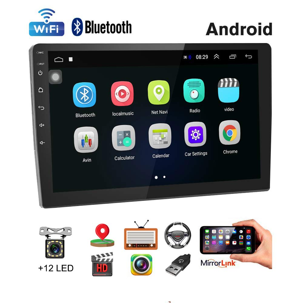 Car Stereo Double Din Android Navigation Stereo 10 Inch HD Touch Screen in Dash Car Stereo with Bluetooth GPS WiFi FM Radio Support Mirror Link, Steering Wheel Control, Rear View Camera/Dual USB by UNITOPSCI
