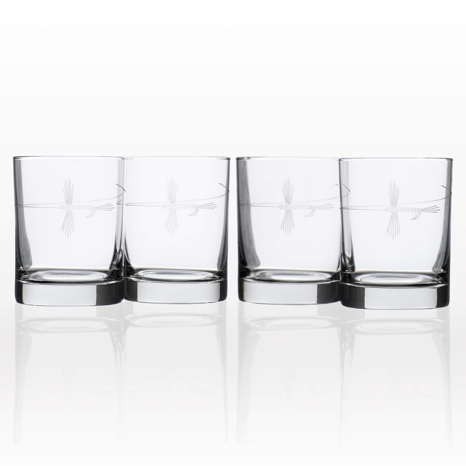Rolf Glass Etched Fly Fishing Double Old Fashioned Glass (Set of 4), 13 oz, Clear