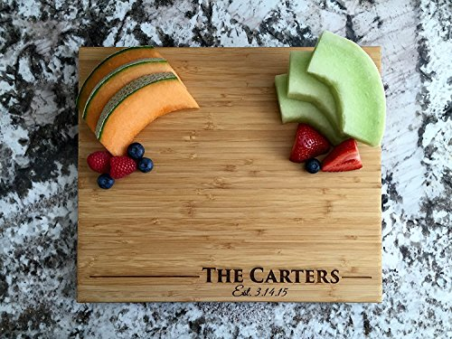 Personalized Wedding Gifts Cutting Board - Wood Cutting Boards, Also Bridal Shower and Housewarming Gifts (11 x 13 Single Tone Bamboo Rectangular, Carter Design) (Best Type Of Wood For Cutting Board)