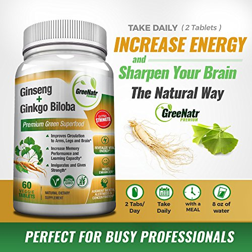 Panax Ginseng + Ginkgo Biloba Tablets - Premium Non-GMO/Veggie Superfood - Traditional Energy Booster and Brain Sharpener - Unique Twin Supplement Combines Ginseng and Ginkgo Biloba 60 Veggie Tablets