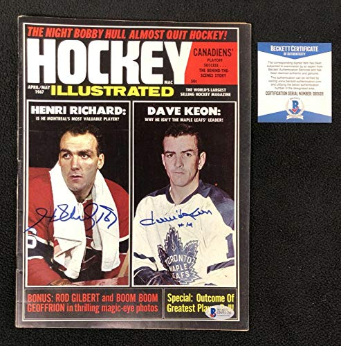 Henri Richard & Dave Keon Signed Hockey Illustrated Magazine Beckett COA - Autographed NHL Magazines