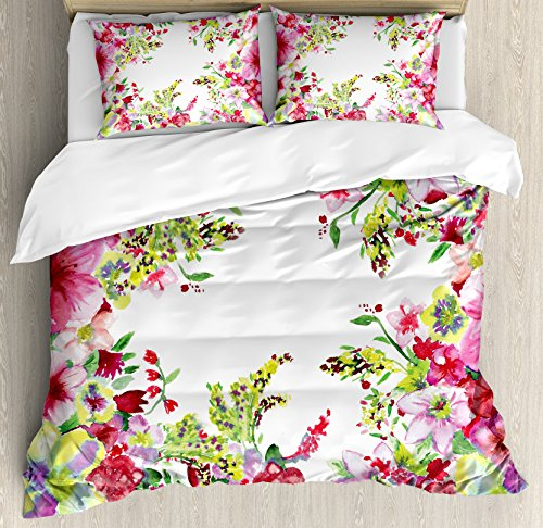 - Ambesonne Watercolor Flower Duvet Cover Set, Fresh Curly Willow and Dahlia Floral Summer Buds Pollen Hand Drawn Print, Decorative 3 Piece Bedding Set with 2 Pillow Shams, King Size, Green Pink