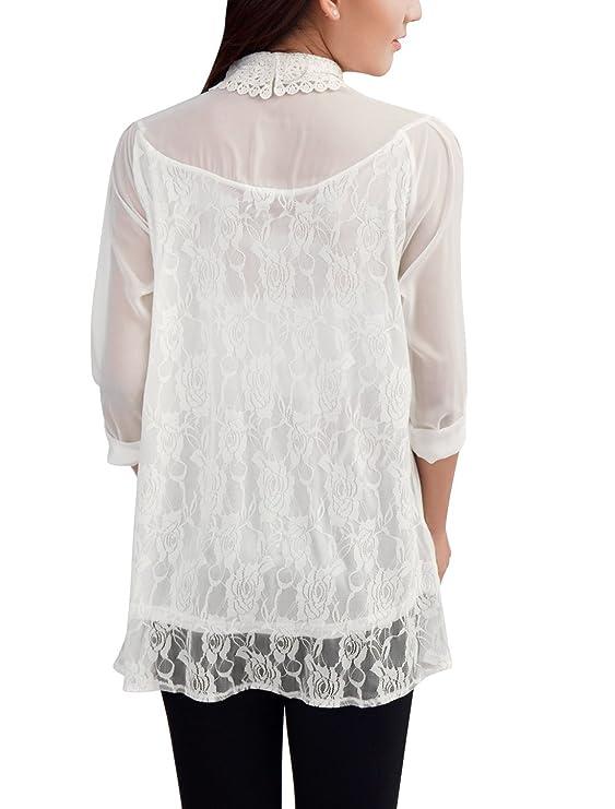 Allegra K Semi de chifón de pantalones de deporte para mujer para escribir encima con bordes de encaje blusa de correa de distribución trapezoidal en para ...
