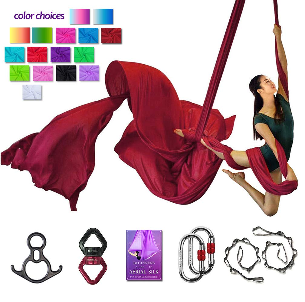 Aerial Silks Deluxe Equipment Set for Aerial Yoga, Aerial Yoga Hammock, Aerial Acrobatic,Circus Arts, Aerial Dance(L:10m W:2.8m (Wine Red)